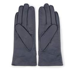 Damskie rękawiczki skórzane ze sprzączkami, granatowy, 39-6-573-GC-V, Zdjęcie 1