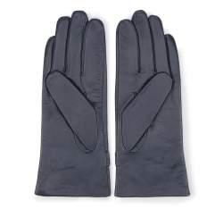 Damskie rękawiczki skórzane ze sprzączkami, granatowy, 39-6-573-GC-X, Zdjęcie 1