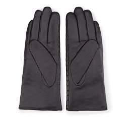 Damskie rękawiczki skórzane pikowane, czarny, 39-6-574-1-X, Zdjęcie 1