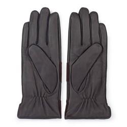 Damskie rękawiczki skórzane z poziomym pasem, ciemny brąz, 39-6-576-BB-L, Zdjęcie 1