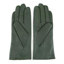 damskie rękawiczki skórzane z ozdobnym szwem, zielony, 39-6L-184-Z-M, Zdjęcie 1