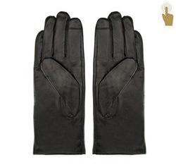 Damskie rękawiczki skórzane eleganckie, czarny, 39-6L-901-1-V, Zdjęcie 1