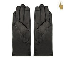 Damskie rękawiczki skórzane eleganckie, czarny, 39-6L-901-1-X, Zdjęcie 1