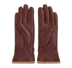 Damskie rękawiczki skórzane ze zdobieniami, bordowy, 44-6-514-BD-M, Zdjęcie 1