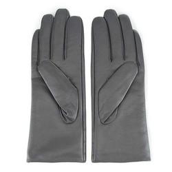 Damskie rękawiczki ze skóry z przeszyciem, szary, 44-6-526-S-S, Zdjęcie 1