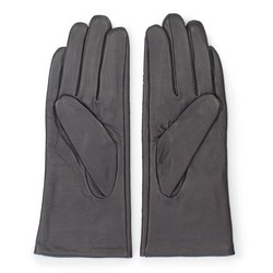 Damskie rękawiczki skórzane z ozdobnymi przeszyciami, ciemny brąz, 45-6-235-BB-M, Zdjęcie 1