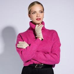 Damskie rękawiczki skórzane dziurkowane, kremowy, 45-6-519-A-S, Zdjęcie 1