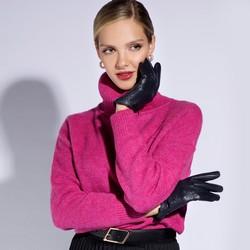 Damskie rękawiczki skórzane dziurkowane, granatowy, 45-6-519-GC-M, Zdjęcie 1