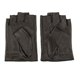 Damskie rękawiczki skórzane bez palców z perforacją, czarny, 46-6-303-1-L, Zdjęcie 1