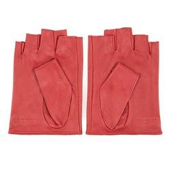 Damskie rękawiczki skórzane bez palców z perforacją, czerwony, 46-6-303-2T-L, Zdjęcie 1
