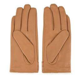 Damskie rękawiczki ze skóry z nitami, camelowy, 46-6-307-LB-M, Zdjęcie 1