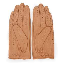 Damskie rękawiczki skórzane samochodowe, camelowy, 46-6L-292-LB-S, Zdjęcie 1