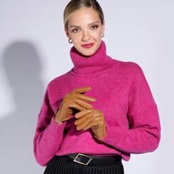 Damskie rękawiczki skórzane samochodowe, camelowy, 46-6L-292-LB-V, Zdjęcie 1