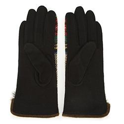 Damskie rękawiczki w kratę do smartfona, czerwono - beżowy, 47-6-570-1-U, Zdjęcie 1