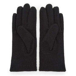 Damskie rękawiczki wełniane z kokardką, czarny, 47-6-X91-1-U, Zdjęcie 1