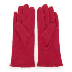 Damskie rękawiczki wełniane z kokardką, ciemny czerwony, 47-6-X91-2-U, Zdjęcie 1