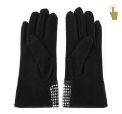 Damskie rękawiczki w pepitkę, czarny, 47-6-103-1-U, Zdjęcie 1