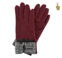 Rękawiczki damskie, bordowy, 47-6-103-2T-U, Zdjęcie 1