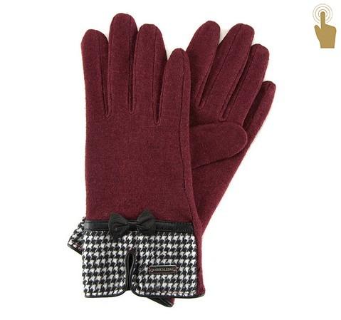 Damskie rękawiczki w pepitkę, bordowy, 47-6-103-1-U, Zdjęcie 1