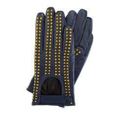 Rękawiczki damskie, granatowo - żółty, 46-6-271-GN-S, Zdjęcie 1