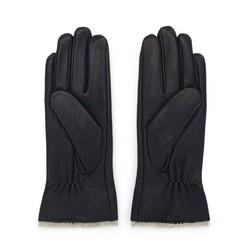 Damskie rękawiczki skórzane z wełnianym wnętrzem, czarny, 44-6-511-1-V, Zdjęcie 1
