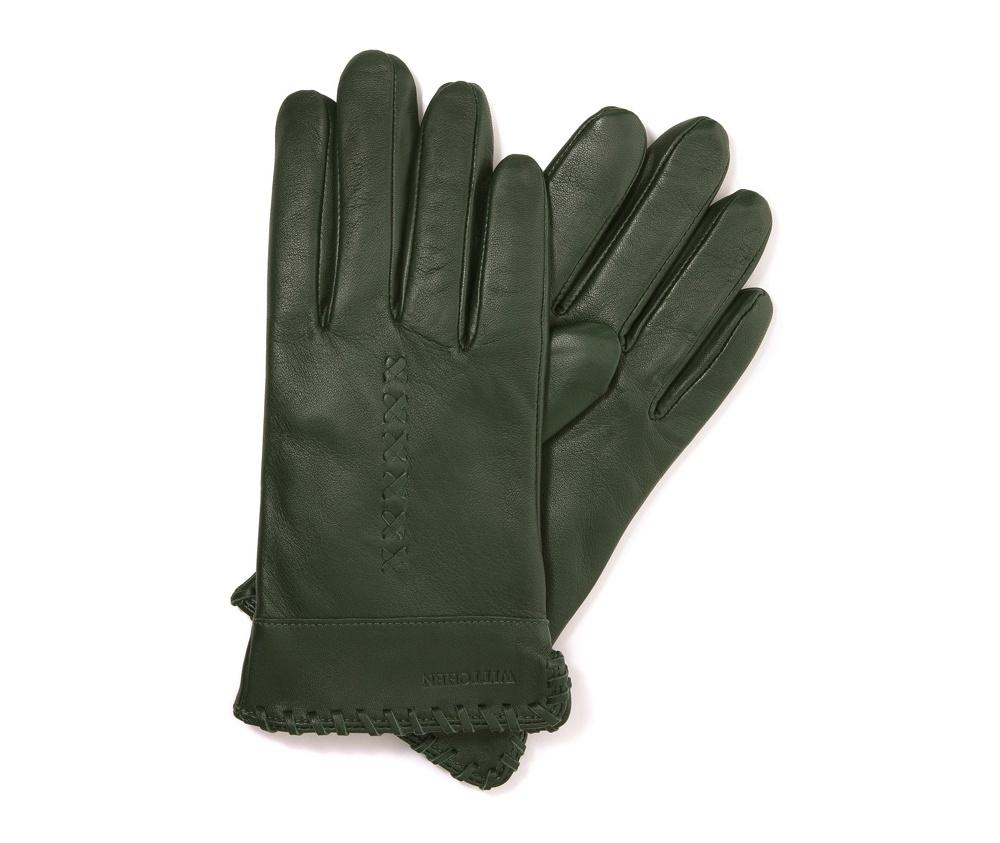 Перчатки женские кожаныеПерчатки женские кожаные<br><br>секс: женщина<br>Цвет: зеленый<br>Размер INT: S<br>материал:: Натуральная кожа