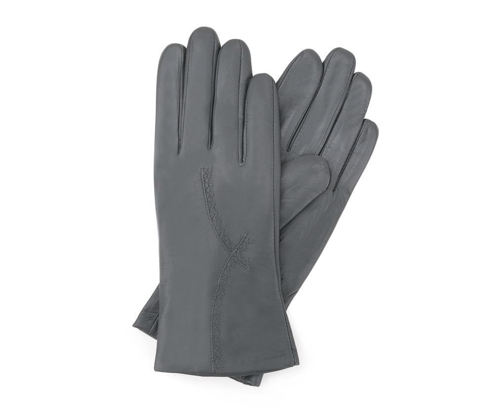 Перчатки женские кожаныеПерчатки женские кожаные<br><br>секс: женщина<br>Цвет: серый<br>Размер INT: S