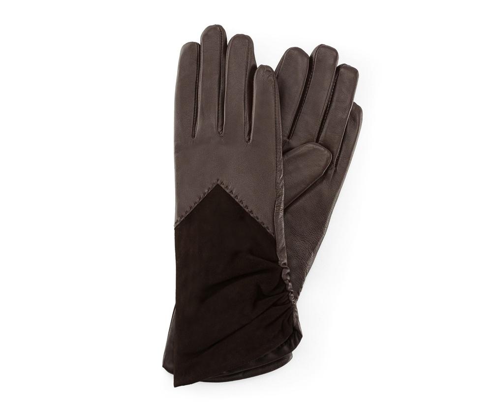 Перчатки женские кожаные Wittchen 39-6-532-B, темно-коричневыйПерчатки женские кожаные<br><br>секс: женщина<br>Цвет: коричневый<br>Размер INT: L<br>материал:: Натуральная кожа