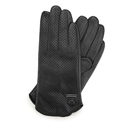 Damskie rękawiczki skórzane dziurkowane, czarny, 45-6-522-1-L, Zdjęcie 1