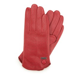 Damskie rękawiczki skórzane dziurkowane, czerwony, 45-6-522-2T-M, Zdjęcie 1