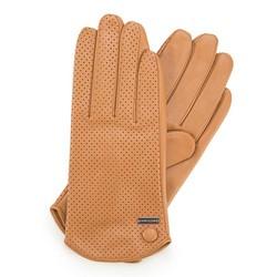 Damskie rękawiczki skórzane dziurkowane, camelowy, 45-6-522-LB-M, Zdjęcie 1
