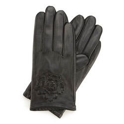 Damskie rękawiczki skórzane z wytłoczoną różą, czarny, 45-6-523-1-M, Zdjęcie 1