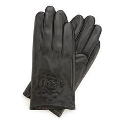 Damskie rękawiczki skórzane z wytłoczoną różą, czarny, 45-6-523-1-V, Zdjęcie 1