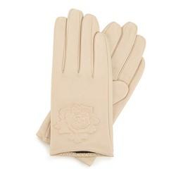 Damskie rękawiczki skórzane z wytłoczoną różą, jasny beż, 45-6-523-A-M, Zdjęcie 1