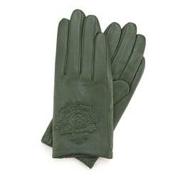 Damskie rękawiczki skórzane z wytłoczoną różą, zielony, 45-6-523-Z-S, Zdjęcie 1