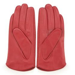 Damskie rękawiczki skórzane dziurkowane, czerwony, 45-6-522-2T-L, Zdjęcie 1