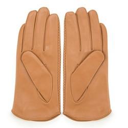 Damskie rękawiczki skórzane dziurkowane, camelowy, 45-6-522-LB-S, Zdjęcie 1