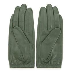 Damskie rękawiczki skórzane z wytłoczoną różą, zielony, 45-6-523-Z-M, Zdjęcie 1
