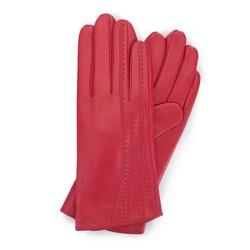 Damskie rękawiczki skórzane z przeszyciami, czerwony, 39-6-640-3-V, Zdjęcie 1