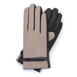 Damskie rękawiczki ze skóry z paskiem, beżowo - czarny, 39-6-644-A-M, Zdjęcie 1