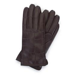 Damskie rękawiczki ze skóry croco, brązowy, 39-6-650-B-X, Zdjęcie 1