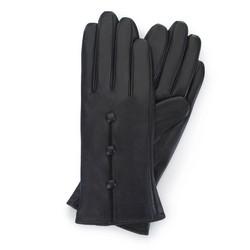 Damskie rękawiczki skórzane z guzikami, czarny, 39-6-651-1-S, Zdjęcie 1