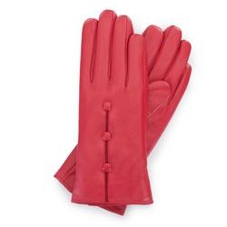 Damskie rękawiczki skórzane z guzikami, czerwony, 39-6-651-3-S, Zdjęcie 1