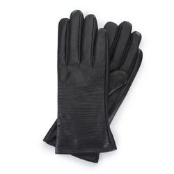 Damskie rękawiczki ze skóry w tłoczone paseczki, czarny, 39-6-652-1-S, Zdjęcie 1