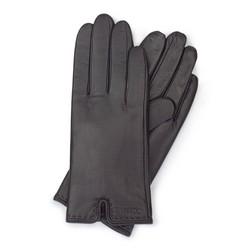 Damskie rękawiczki ze skóry z wycięciem, ciemny brąz, 39-6L-213-BB-M, Zdjęcie 1