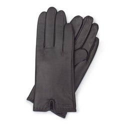 Damskie rękawiczki ze skóry z wycięciem, ciemny brąz, 39-6L-213-BB-X, Zdjęcie 1