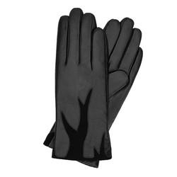 Damskie rękawiczki ze skóry z zamszową wstawką, czarny, 44-6-525-1-X, Zdjęcie 1