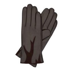 Damskie rękawiczki ze skóry z zamszową wstawką, Brązowy, 44-6-525-BB-M, Zdjęcie 1