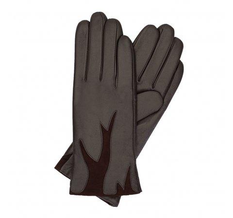 Damskie rękawiczki ze skóry z zamszową wstawką, Brązowy, 44-6-525-1-S, Zdjęcie 1