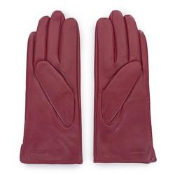 Damskie rękawiczki skórzane z rzemieniem, bordowy, 39-6-641-33-M, Zdjęcie 1